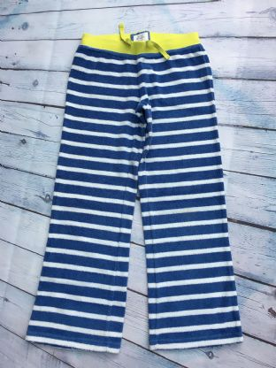 Mini Boden blue and white towelling trousers with yellow elasticated waistband age 8 (fits age 7-8)